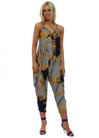 Navy & Gold Filigree Parachute Jumpsuit