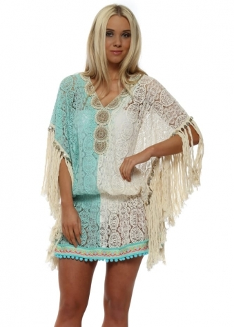 Miss Coco Aqua & Cream Lace Kaftan Top