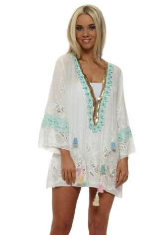 Egypte Aqua Crystal Flowers Tassel Kaftan Top