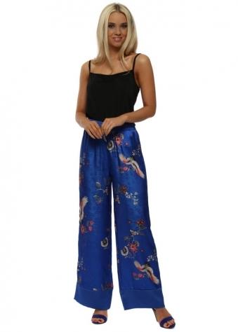 Blue Embossed Bird Print Trousers