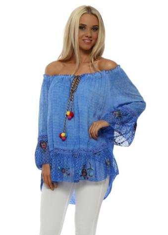 Blue Bardot Floral Lace Pom Pom Tassel Top