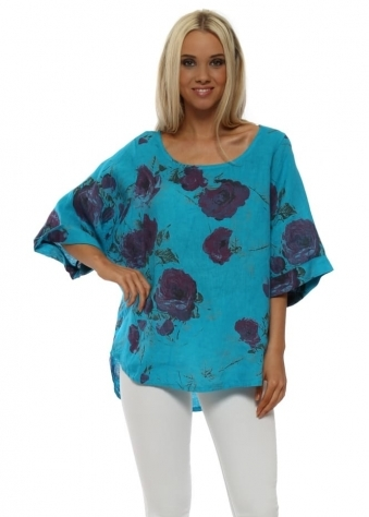 Turquoise Floral Linen Oversized Top