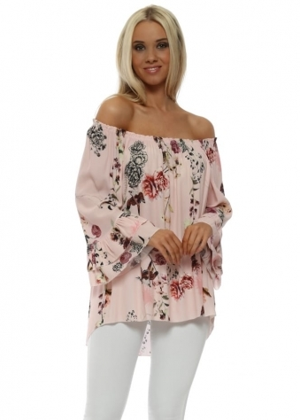 Baby Pink Floral Double Frill Cuff Bardot Top