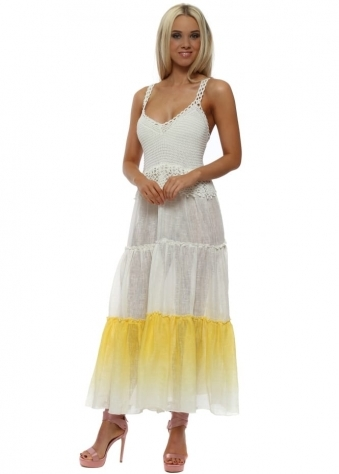 Yellow Tiered Maxi Beach Dress