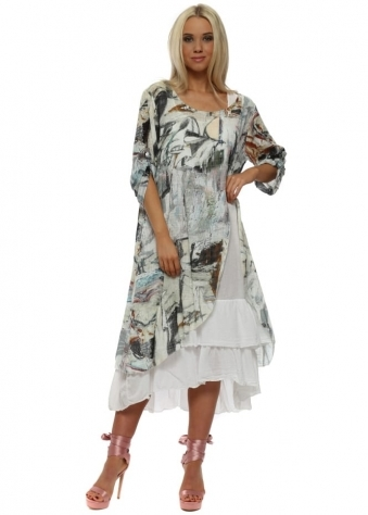 Green Print Linen Layered Dress