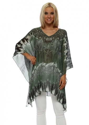 Green Feather Print Crystal Kaftan Top