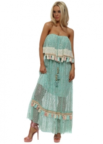 Aqua Metallic Tassel Trim Bandeau Maxi Dress