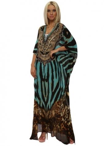Exotic Turquoise Zebra & Leopard Maxi Kaftan