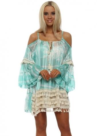 Aqua Tassel Cold Shoulder Mini Tunic Dress