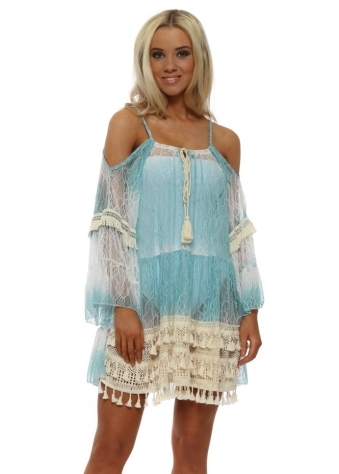 Sheer Blue Lace Mini Beach Dress