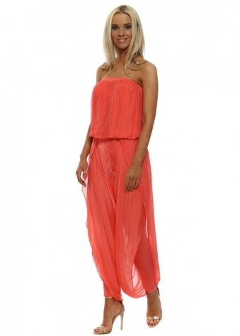 Coral Silk Bandeau Draped Jumpsuit