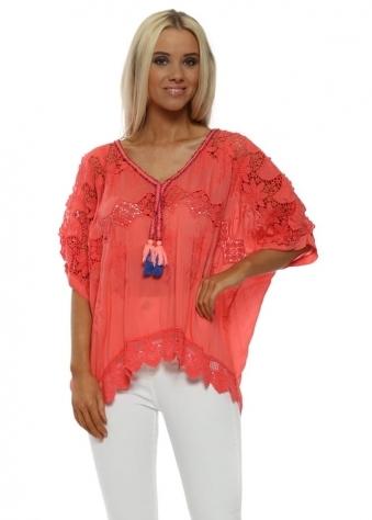 Coral Crochet Silk Cold Shoulder Tassel Top