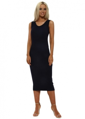 Nancy Navy Jersey Midi Dress