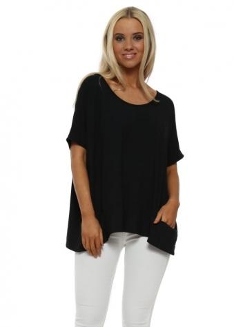 Black Sleeveless Pammy Slouch Jersey Top