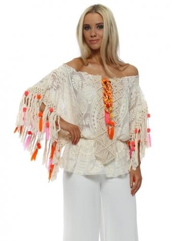 Miss Cream Lace Boho Pom Pom & Feather Bardot Top
