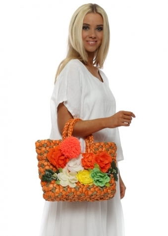 Orange Pom Pom & Flowers Small Tote Basket