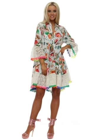 White Floral Lace Neon Pom Pom Shirt Dress