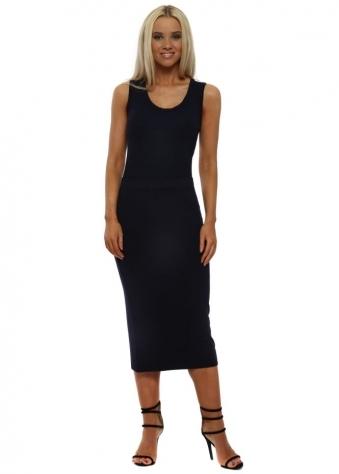 Navy Jersey Column Midi Skirt