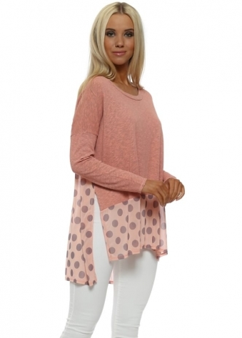 Selena Sorbet Slub Knit Spotty Hem Top
