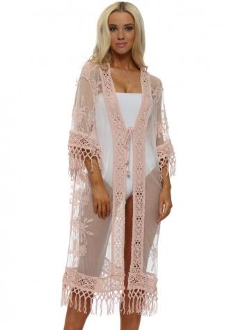 Dusky Pink Crochet Long Kimono Cardigan