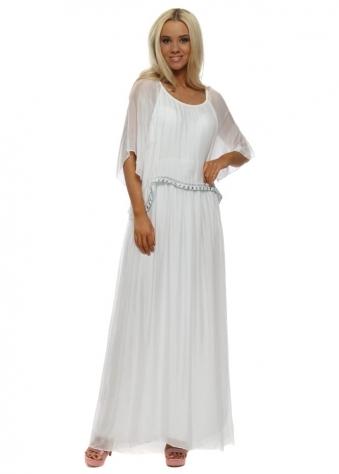 White Bib Aztec Trim Silk Maxi Dress