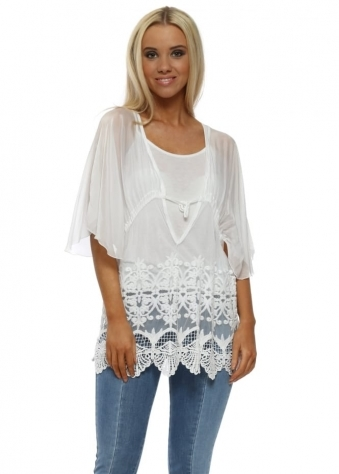White Silk & Floral Lace Blouse