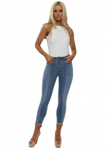Blue Stretch Fit Zip Front Ankle Grazer Jeans