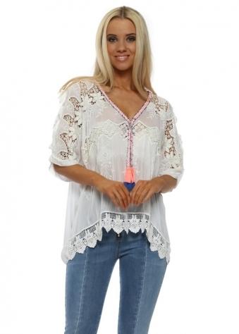 White Crochet Silk Cold Shoulder Tassel Top