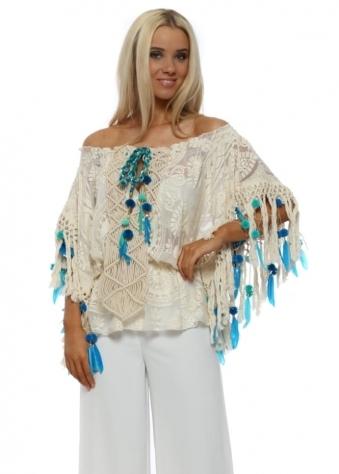 Miss Cream Lace Boho Blue Pom Pom & Feather Bardot Top