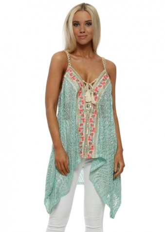 Aqua Metallic Floral Embroidered Sleeveless Top