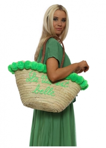 Green Pom Pom La Vie Est Belle Oversized Beach Basket