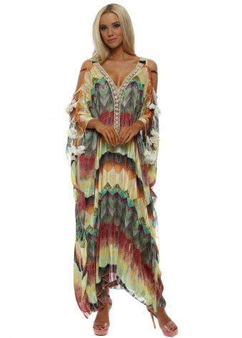 Multi Zig Zag Ladder Sleeve Maxi Kaftan Dress