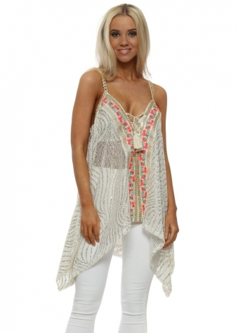 Cream Metallic Floral Embroidered Sleeveless Top