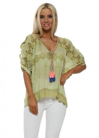 Lime Green Crochet Silk Cold Shoulder Tassel Top