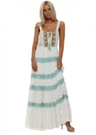 Misouni White & Aqua Shell Embellished Boho Maxi Dress