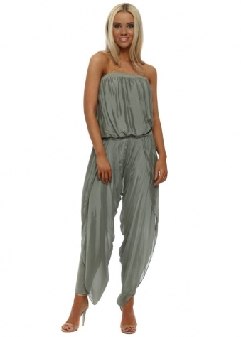 Khaki Silk Bandeau Draped Jumpsuit