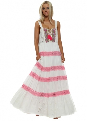 Misouni White & Pink Shell Boho Maxi Dress