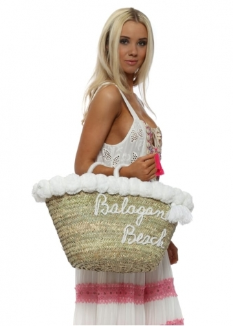 White Pom Pom Balagan Beach Tote Basket