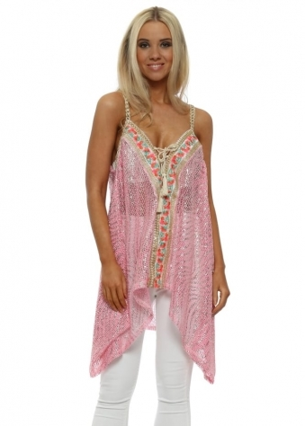 Pink Metallic Floral Embroidered Sleeveless Top