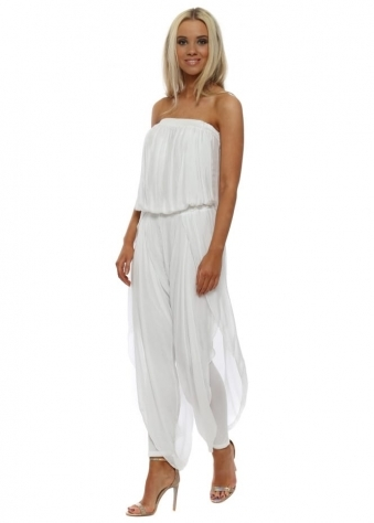 White Silk Bandeau Draped Jumpsuit