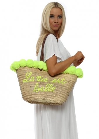 Lime Pom Pom La Vie Est Belle Oversized Beach Basket