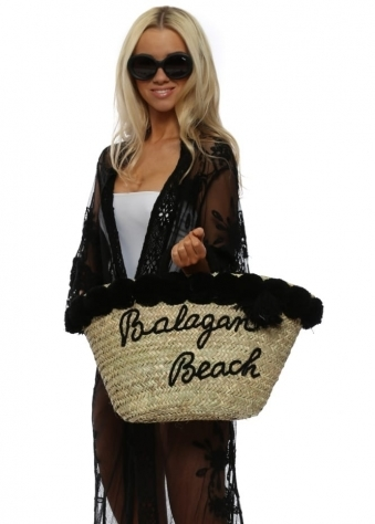 Black Pom Pom Balagan Beach Basket Bag