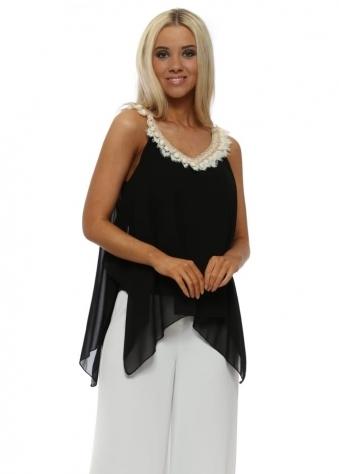 Black Chiffon Pom Pom Handkerchief Swing Top
