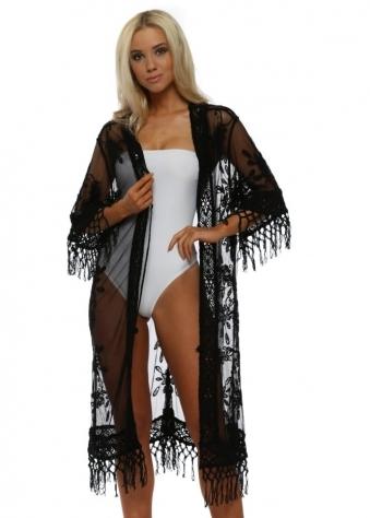 Black Crochet Long Kimono Cardigan