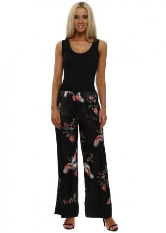 Black Embossed Bird Print Trousers
