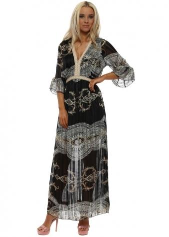 Black Rococo Print Maxi Dress