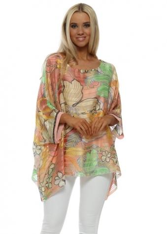 Peach Tropical Flower Sequin Cuff Kaftan Top
