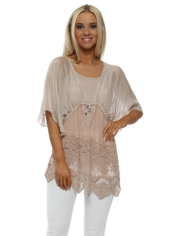 Nude Silk & Floral Lace Blouse