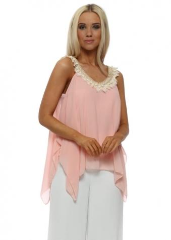 Pink Chiffon Pom Pom Handkerchief Swing Top