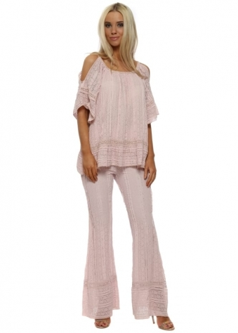 Pink Lace Cold Shoulder Flared Trouser Suit